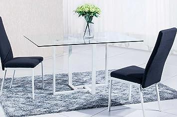 Mesa de comedor cristal para salón con patas pintadas en blanco modelo VERONA – Sedutahome