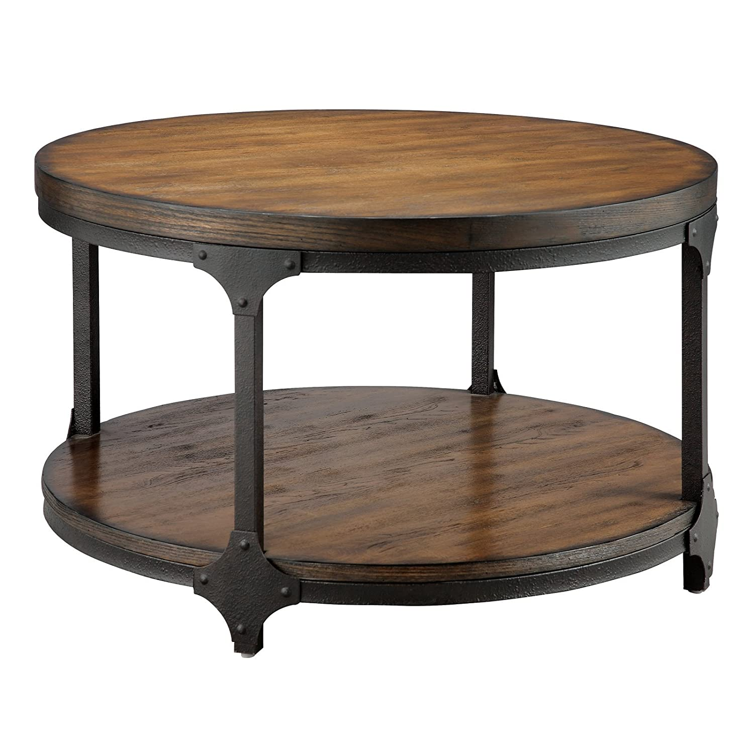 Rustic industrial style round wood metal coffee cocktail table Rustic round coffee table