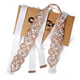 Bridal Belt with Rhinestones Wedding Sash Sparkle Rose Gold Claw White Ribbon for Bridal Dress (Color: Rose Gold+white-44x3cm(17.3x1.18inches), Tamaño: 45x4cm(18x1.6inches))