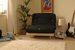 3ft (90cm) Single Wooden Futon with BLACK Mattress       Customer review and more description