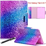 Galaxy Tab A 9.7 Case, Newshine Protective PU Leather Folio Stand Wallet Credit Card Slots Case with Auto Sleep/Wake for Samsung Galaxy Tab A 9.7 SM-T550 2015 Release - Purple Blue (Color: 2 Purple Blue)