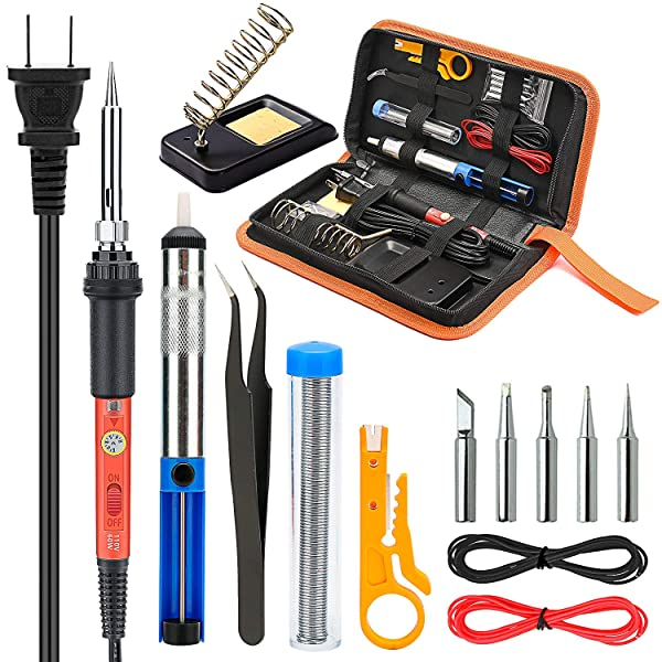 Soldering Iron Kit Electronics, Yome 14-in-1 60w Adjustable Temperature Soldering Iron with ON/OFF Switch, 5pcs Soldering Iron Tips, Desoldering Pump, Tweezers, Stand, Solder, PU Carry Bag (Tamaño: Model 2)