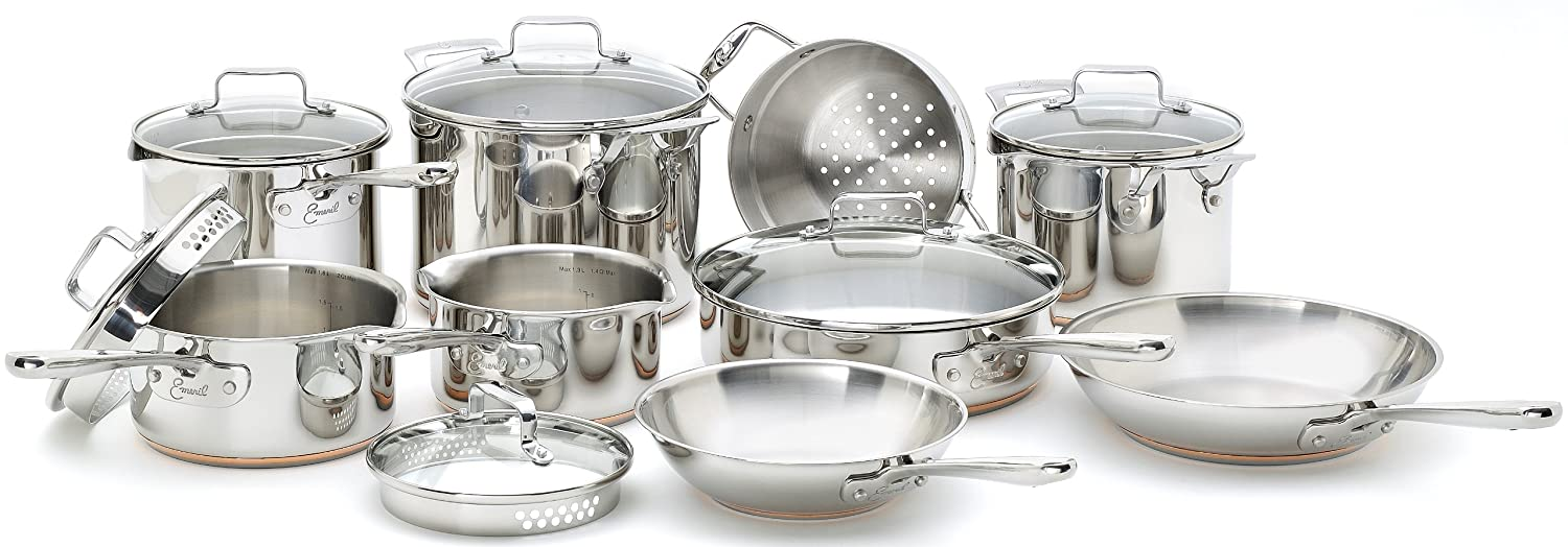 Emeril E937SE6A By All-Clad Copper Stainless Steel Dishwasher Safe 14-Piece Cookware Set