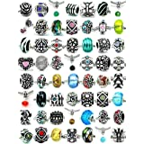 Pro Jewelry Assorted Silver Charms, Crystal Bead Charms, Glass Beads and Spacers for Snake Chain Bracelets, Pack of 20