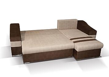 Polstermöbel Lio in grun mit Staukasten und Bettfunktion – Abmessungen: 253 x 165 cm (L x B) - Ottomane: Links