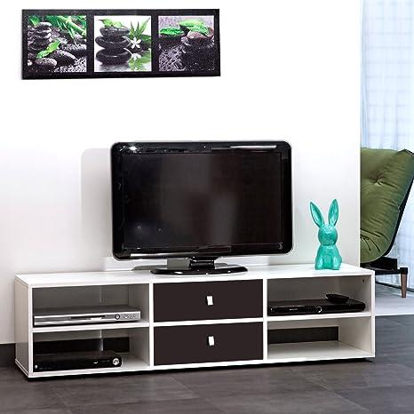 Mueble para televisor, color blanco, 4 estantes, 2 cajones, color negro