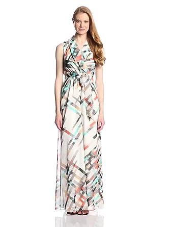Vince Camuto Women's Sleeveless Wrap Printed Maxi Dress, Sombrero, 4