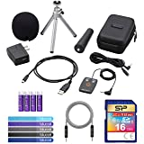 Zoom APH-2N Accessory Pack for H2N Handy Recorder Bundle with Silicon Power 16GB Class 10 SDHC SD Card, Blucoil 5-FT Audio Aux Cable, 5-Pack of Reusable Cable Ties and 4 AA Batteries