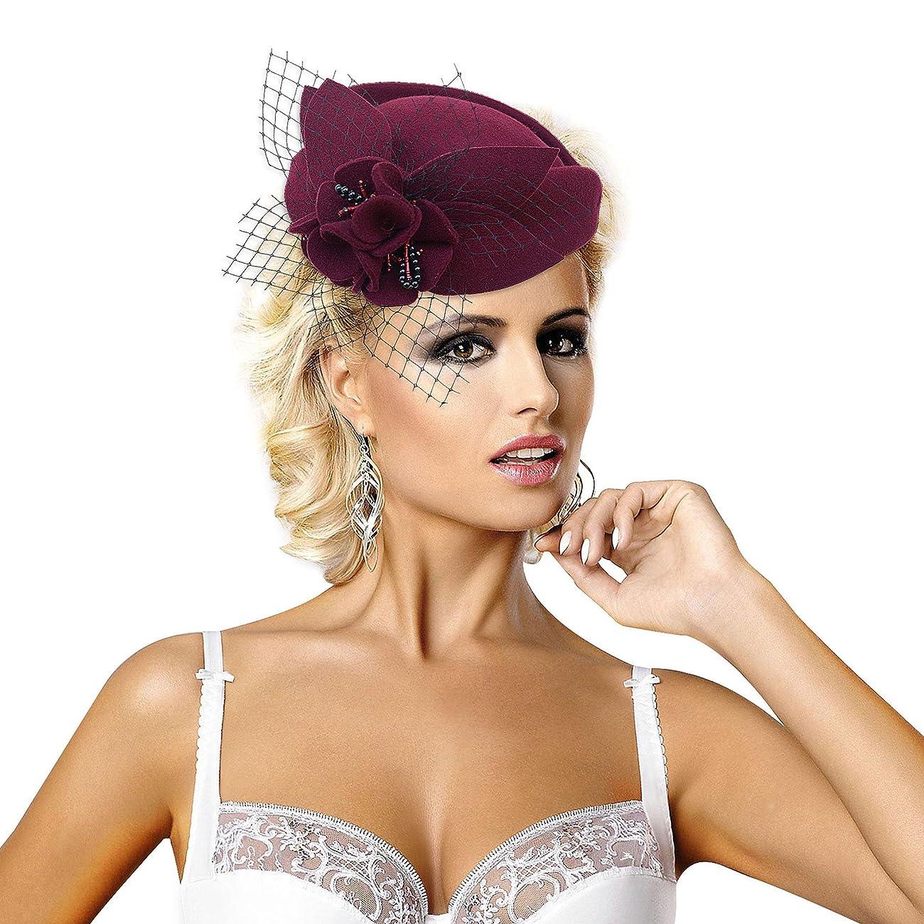 Wine Red Women Fascinator Pillbox Felt Wool Hat Formal Dress Flower Veil A131 1