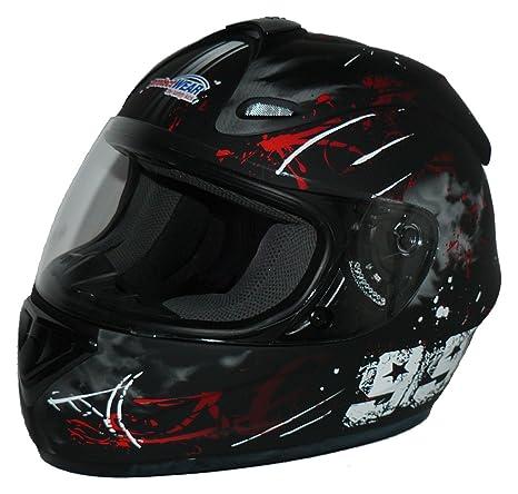 Protectwear FS-801-99R-S Casque de Moto Intégral avec la Conception Rouge 99, Noir Mat, Taille S