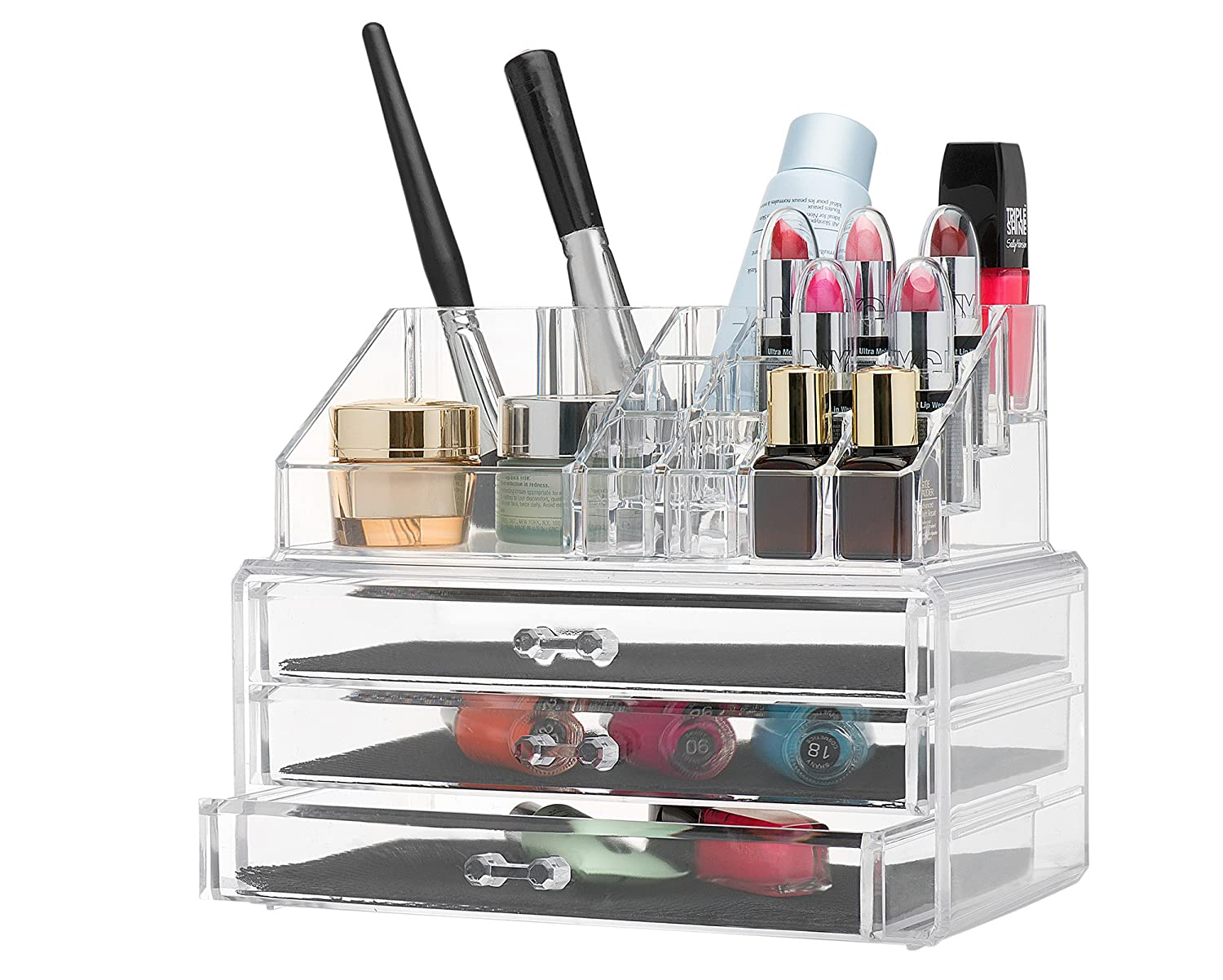 Jewelry organizer and makeup organizer cosmetic organizer and Large 3 Drawer Jewelry Chest or makeup storage ideas Case Lipstick Liner Brush Holder make up boxes