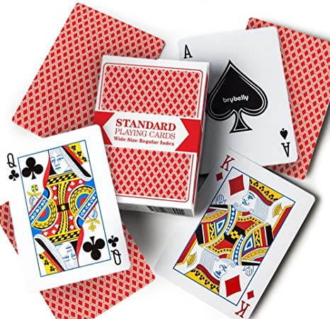top deck cards:  12 Decks (6 Red/6 Blue) Wide-Size, Regular Index Playing Cards by Brybelly