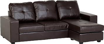 Seconique Benson Corner Sofa - Brown Faux Leather