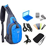 YB-OSANA 7 in 1 Travel Backpack Crossbody Bag + 3DS XL AC Adapter+ 3DS Car Charger +Soft Protective Bag+3DS Game Card Case+ New 3DS XL Stylus+ USB Charging Cable for Nintendo New 3DS XL Travel Kit (Color: Blue)