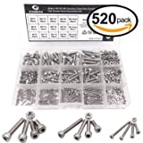 Comdox 520pcs M2 M3 M4 Stainless Steel Hex Socket Head Cap Screws Nuts Assortment Kit with Box (304 Stainless Steel)