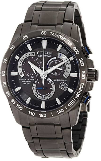 """Citizen Men's AT4007-54E """"Perpetual Chrono A-T"""" Black Stainless Steel Watch-奢品汇 