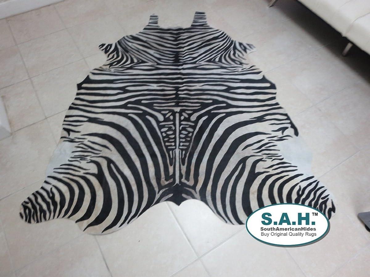 Stencil Zebra Print Hair-on Leather Pure Brazillian Cowhide Skin Rug - by BlackSwanHides