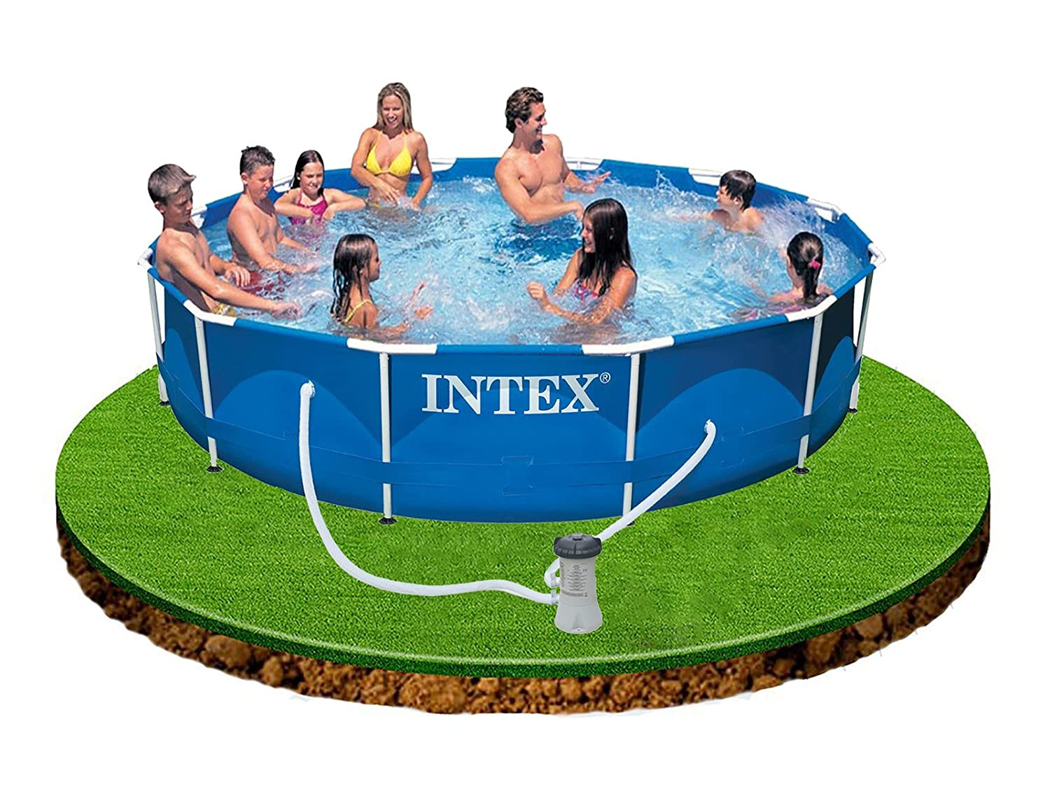 Intex 12ft x 30in deep metal frame family swimming pool for Deep swimming pools for garden