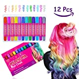Temporary Hair Chalk Set - 12 Colors Non Toxic Hair Chalk Pens, Hair Dye for Kids Girls and Adults Party Gift