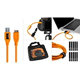 Starter Tethering Kit w/TetherPro USB 3.0 to Micro-B Cable, 15' (4.6m), High-Visibility Orange (Color: Orange, Tamaño: 15 feet)