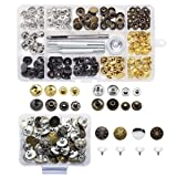 Yotako 40x 12mm Jeans Button Tack Buttons Metal Replacement Kit + 40x 12mm Metal No Sewing Popper Button Snap Fasteners Kit For Leather Clothing Wallet