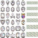 Bememo 2000 Pieces 3D Crystal AB Color Flat Back Rhinestones Nail Art DIY Crafts Gemstones with 30 Nail Art Metal Gem Stones, Total 2030 Pieces (Style B) (Color: Style B, Tamaño: 2030 Pieces)