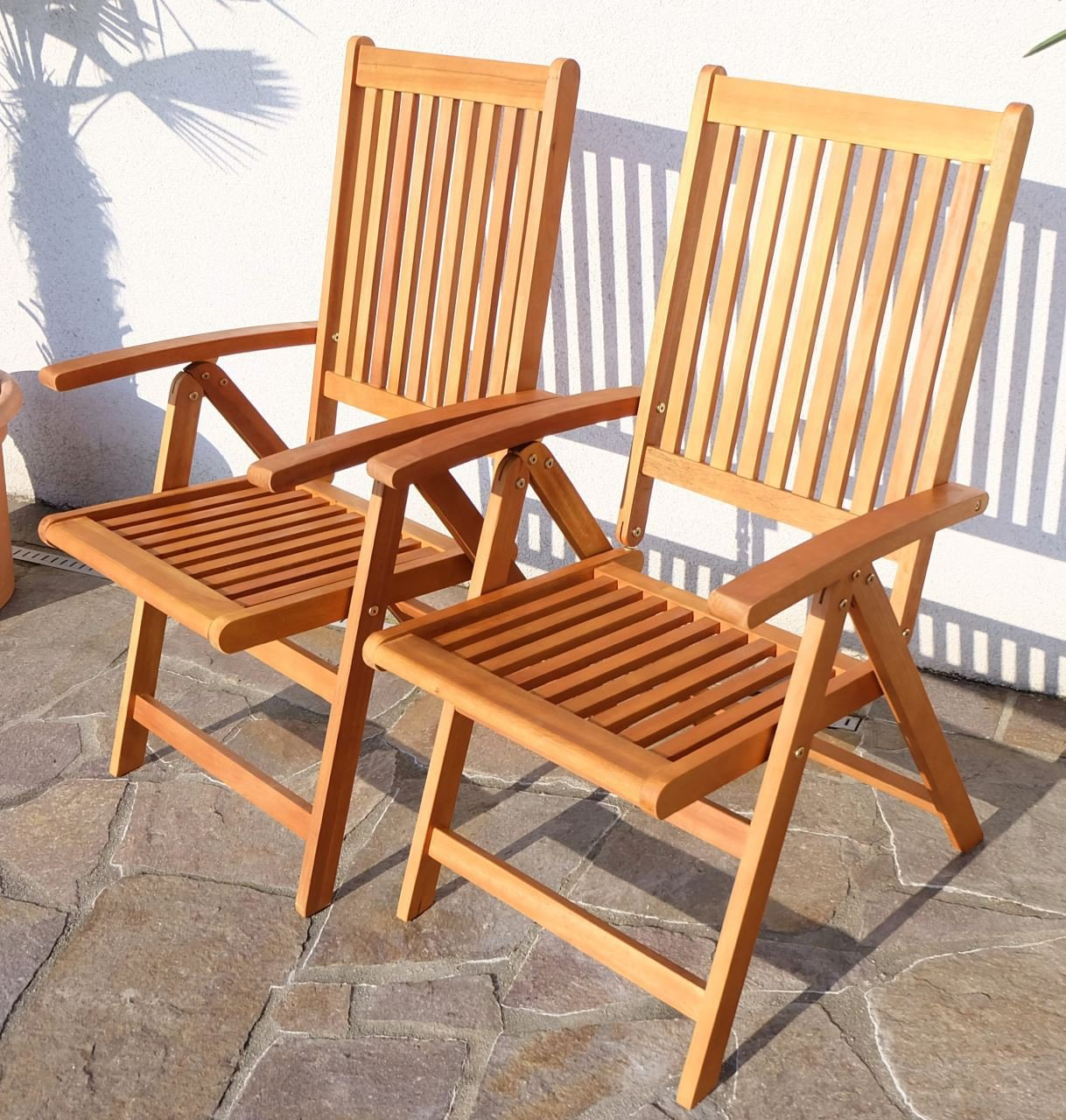 2x Design Hochlehner Klappstuhl Klappsessel Gartensessel Gartenstuhl Sessel Holzsessel Gartenmöbel 7-fach verstellbar Holz Eukalyptus geölt Modell: 'LIMA' von AS-S