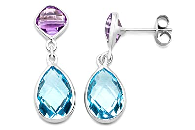 Miore Women's 9 ct Yellow Gold Amethyst and Drop Earrings - 2.6 cm