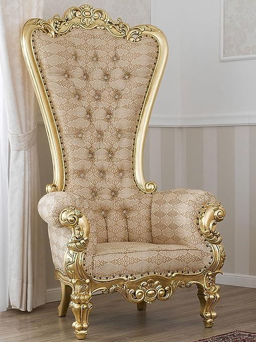 Fauteuil trône style baroque français Feuille Or Tissu damassé Ivoire Or Boutons Swarovski