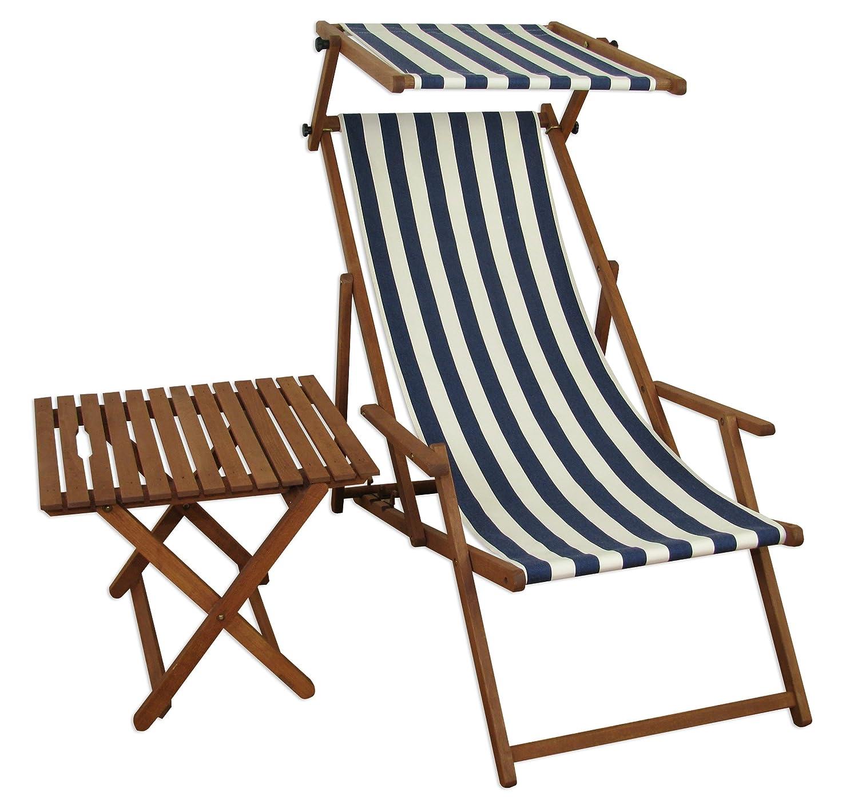 Sonnenliege Gartenliege Deckchair Saunaliege mit Dach + Tisch