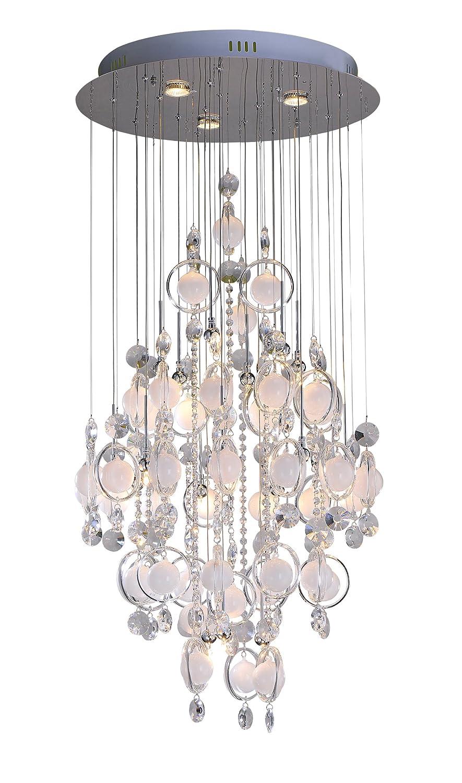 Vivienne Pendelleuchte Sato / Chrom mit Kristallbehang / Höhe 140 cm, ø 60 cm / 18 x G4 max. 20W / 3 x GU10 max. 50W / inklusiv Leuchtmittel / Stilrichtung Modern / Glaskugel weiß 250200