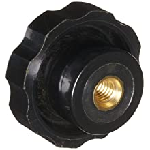 "DimcoGray Black Phenolic Fluted Torque Knob Female, Brass Insert: 5/16-18"" Thread x 7/16"" Depth, 1-3/4"" Diameter x 1-1/16"" Height x 1-1/16"" Hub Dia x 1/2"" Hub Length (Pack of 10)"