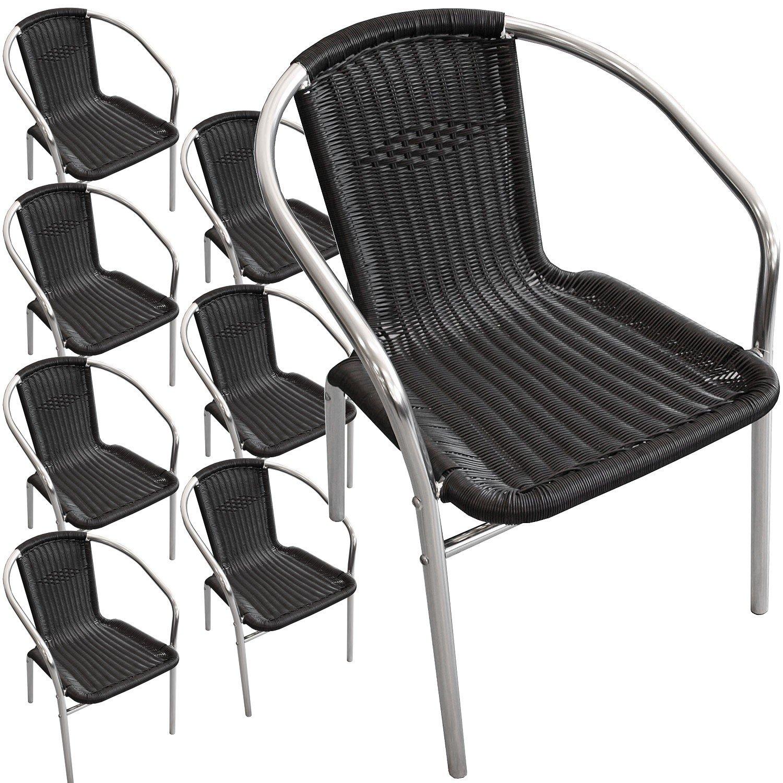 8 Stück Aluminium Stapelstuhl Poly-Rattanbespannung Gartenstuhl Bistrostuhl Gartenmöbel Balkonmöbel Terrassenmöbel Silber / Schwarz kaufen