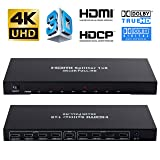 Upgraded 8 Port 4K HDMI Splitter 1x8 HDMI Switch, Bluesky HD 4K One in Eight Out HDMI Splitter Audio Video Distributor Amplifier with Charger, Support Full HD 4K & 3D & 1080P (Color: HDMI Splitter 1x8, 4K)