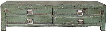 Flache Kommode, Kaffetisch mit 4 Schubladen, im Vintage Look JH17-079 / Kommoden, Sideboards & Fernsehtische