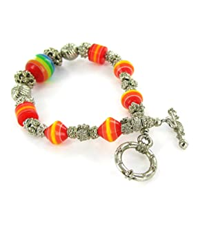 Linpeng Colorful Resin Beads & Silver Beads Fancy Toggle Bracelet Rainbow/Orange/Yellow (Color: Rainbow/Orange/Yellow)