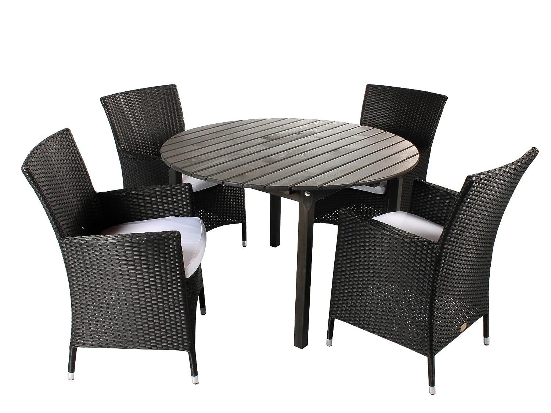 GARDENho.me 5tlg. Polyrattan Holz Sitzgruppe Pesaro, Polyrattan Sessel schwarz und Tisch rund ca. 114 cm Ø Taupegrau