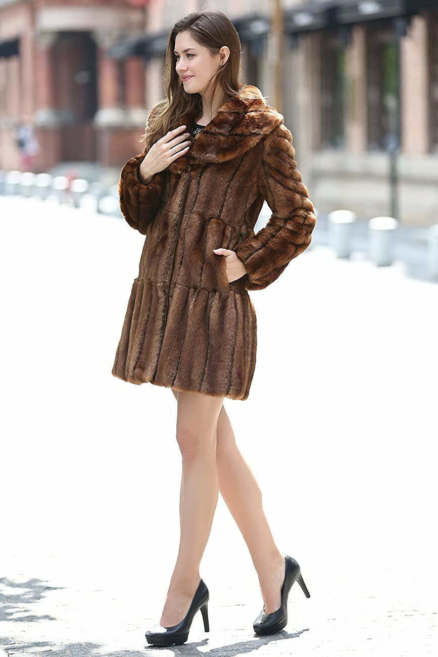 Adelaqueen Women's Vintage Style Luxury Faux Fur Coat with Lotus Ruffle Collar 3