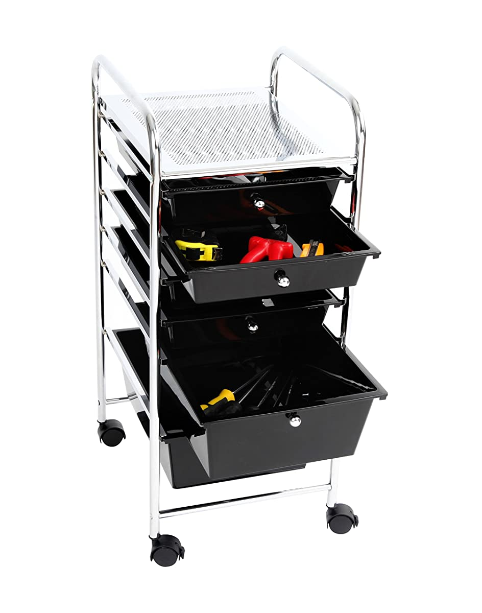 Finnhomy 6 Drawer Rolling Cart Organizer Storage Cart with Drawers Utility Cart for School Office Home Beauty Salon Storage Smoke