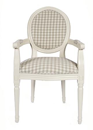 derrys Louis Fauteuil arrière ronde style ancien Français avec neutre Carreaux, bois, ivoire/beige