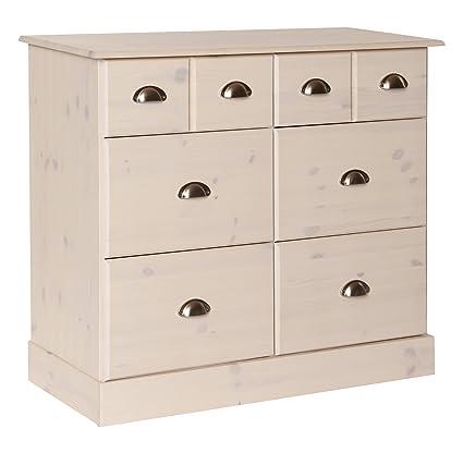 NJA Furniture Terra - Cassettiera a 6 cassetti, 4 grandi e 2 piccoli, 79 x 92 x 39 cm, colore: Bianco