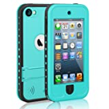 meritcase Waterproof Case for iPod 7 iPod 5 iPod 6, Waterproof Shockproof Dirtproof Snowproof Case Cover with Kickstand for Apple iPod Touch 5th/6th/7th Generation for Swimming Diving Surfing (Blue) (Color: blue)