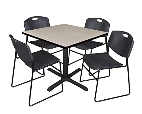 Regency Seating 36-Inch Square Maple Laminate Table with Cain Base and 4 Black Zeng Stack Chairs