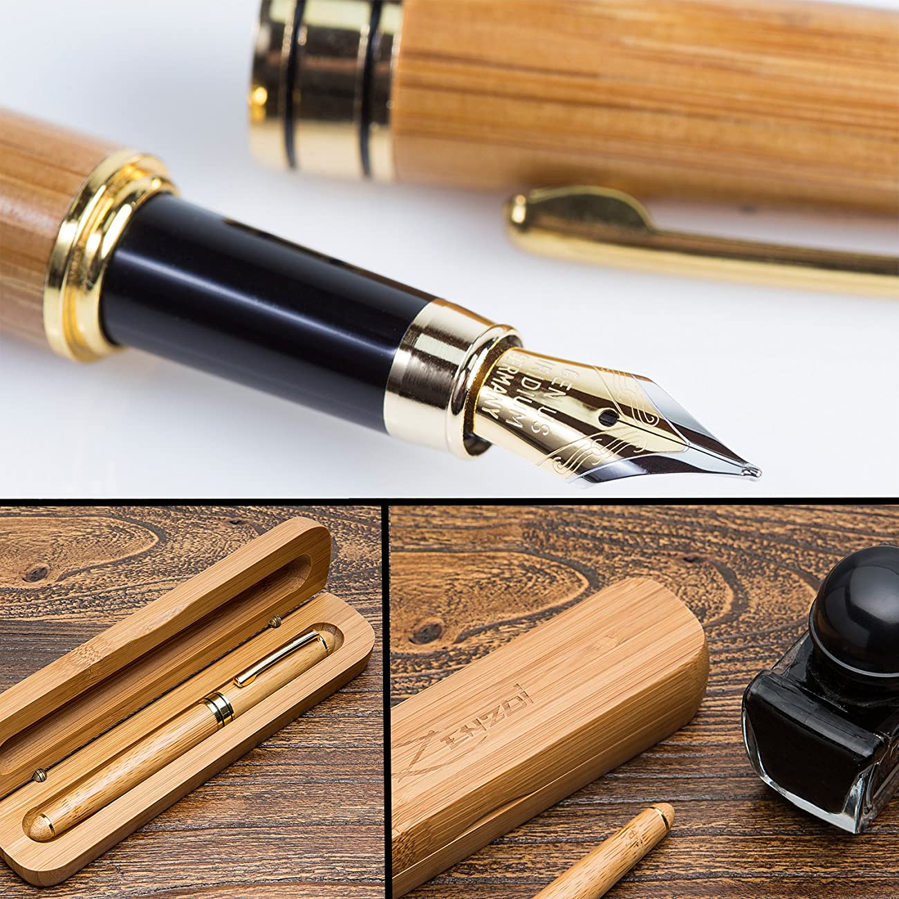 Fountain Pen Writing Set Case 100% Handcrafted Bamboo Vintage Collection with Ink Refill Converter - You Get Best Signature Calligraphy Antique Executive Business Gift Pens - 100% Quality Guarantee 1