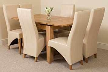 Richmond Small Extending Solid Oak Dining Table and 6 Ivory Leather Chairs 100% Solid Oak   90cm - 150cm Extending   Fast & Free Delivery