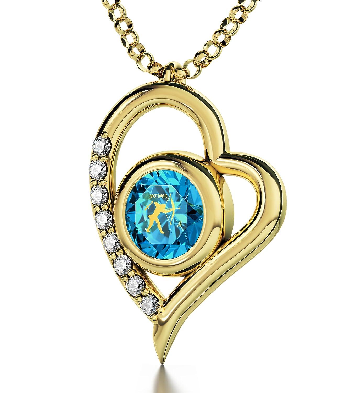 Vergoldete Schütze-Halskette – Herz-Anhänger mit Beschriftung in 24k Gold auf kristallenem Zirkonia Edelstein-Amulett – Astrologieschmuck – Einzigartige Geburtstagsgeschenk-Ideen als Weihnachtsgeschenk kaufen