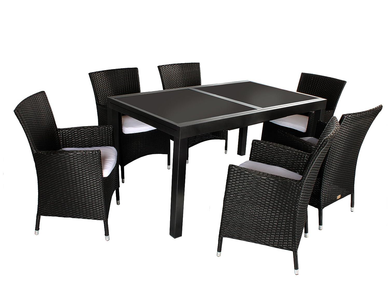 GARDENho.me 7tlg. Sitzgruppe VERONA Aluminium Ausziehtisch ca. 150/210 x 90 cm anthrazit, Polyrattan Sessel schwarz günstig
