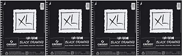 Canson XL Series Black Drawing Paper for Pencil, Acrylic Marker, Opaque Inks, Gouache and Pastels, Side Wire, 92 Pound, 9 x 12 Inch, Black, 40 Sheets (F?ur Pa?k) (Tamaño: F?ur Pa?k)