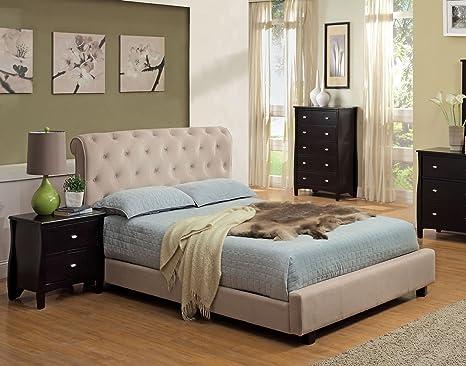 Furniture of America Wilshire Tufted Velvet Platform Bed, Queen, Beige