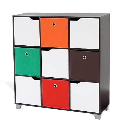 Scaffale modulare libreria T365 design moderno truciolato ~ 9x scomparti con 4x scatole multicolor
